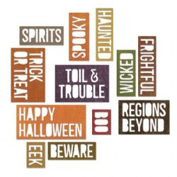 660956 Sizzix Thinlits Die Set 18PK - Halloween Words: Block by Tim Holtz